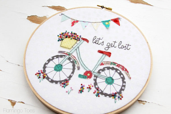 Flowers and Bicycle Embroidery Pattern