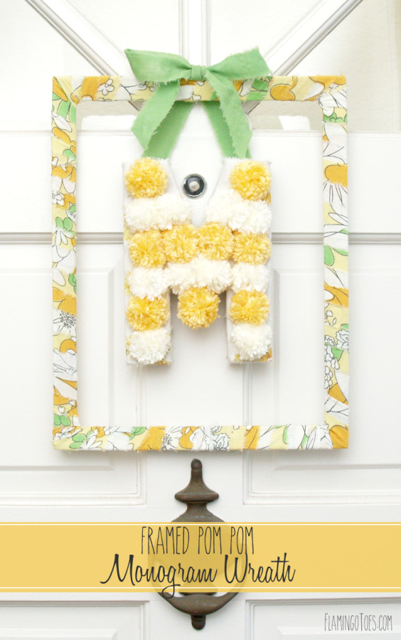 Framed Pom Pom Monogram Wreath
