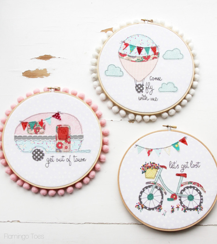 Let s get lost summer bicycle embroidery hoop art