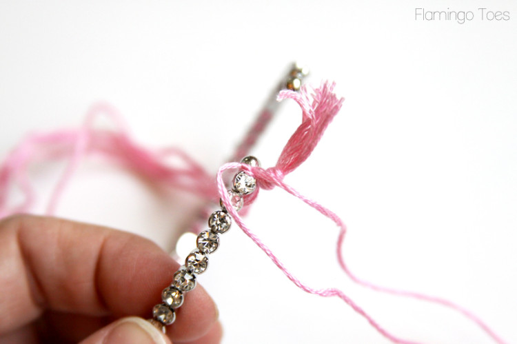 Knot Floss around rhinestone cuff