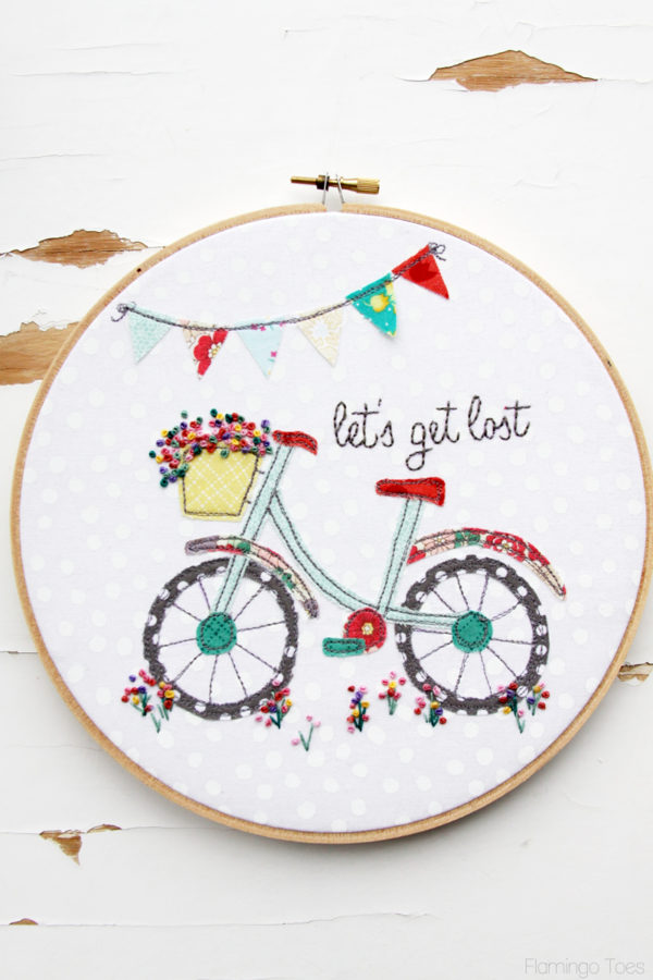 Lets Get Lost Bicyle Embroidery