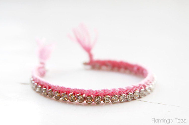 Pretty Thread and Rhinestone Bracelet
