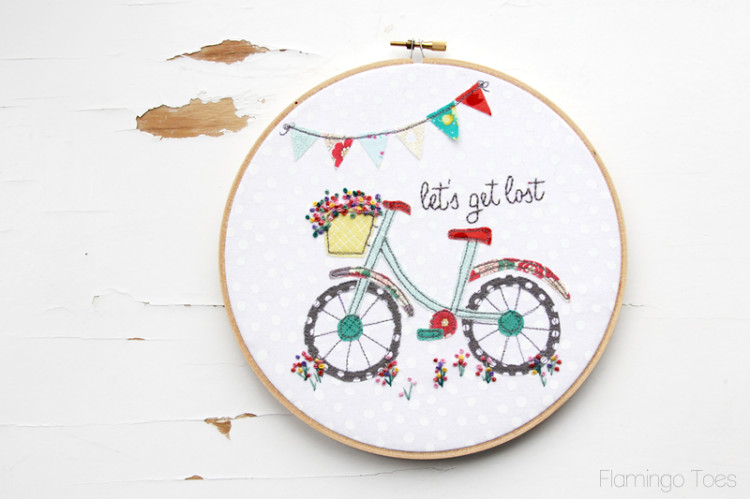 Summer Bicycle Embroidery Hoop Art