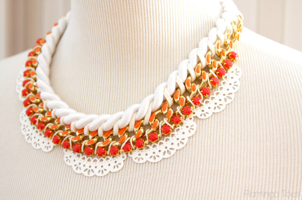 Summer Rhinestone and Lace Necklace