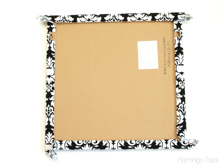 wrapping fabric around corkboard