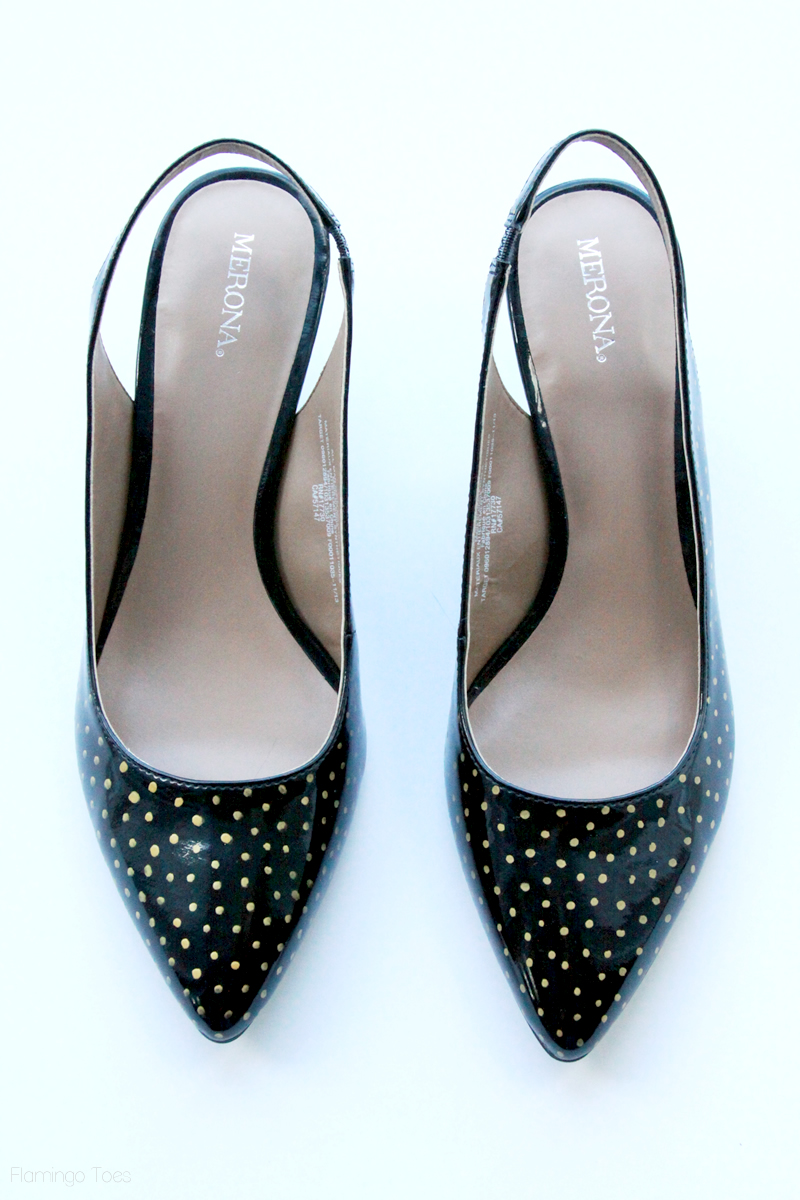 Black and Gold Polkadot Heels