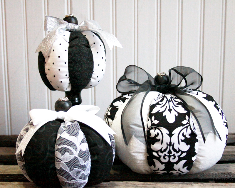 Black and White Fabric Pumpkins