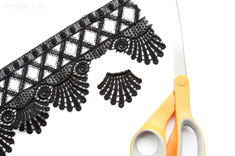 Cutting pieces of lace