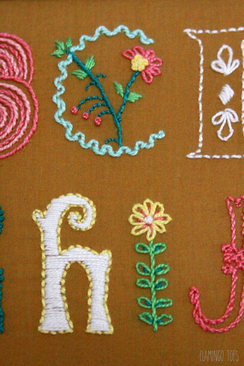 Alphabet embroidery sampler for Embroidered alphabet letters