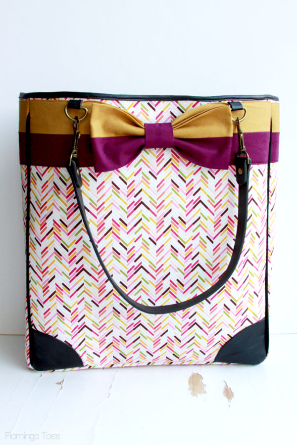 Fabric and Leather Tote Bag