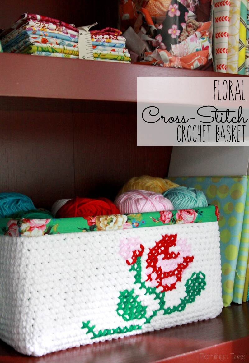 Floral Cross Stitch Crochet Basket