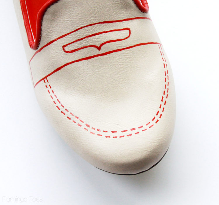 drawing stitching on shoe