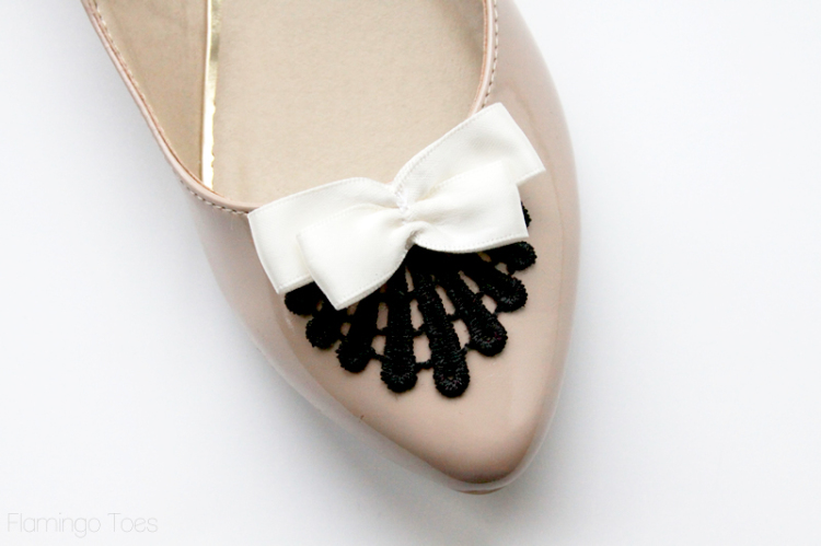 gluing bows to shoes