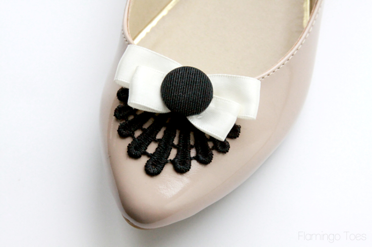 gluing button over bows
