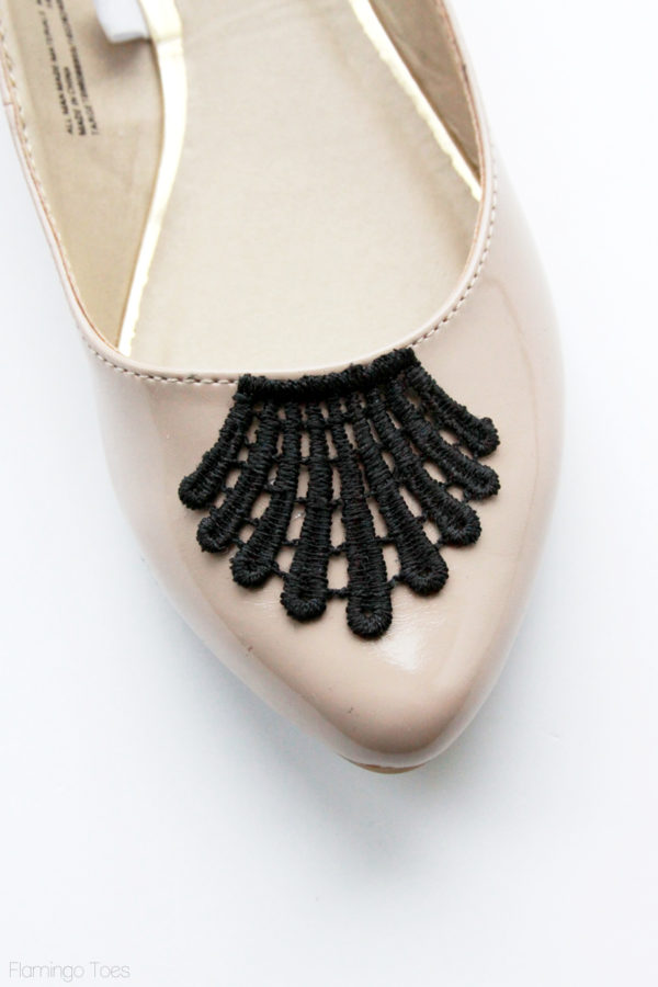 gluing lace to shoes