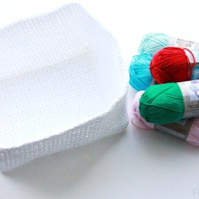 Floral Cross Stitch Crochet Basket