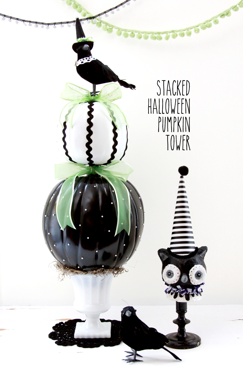 Stacked Halloween Pumpkin Tower