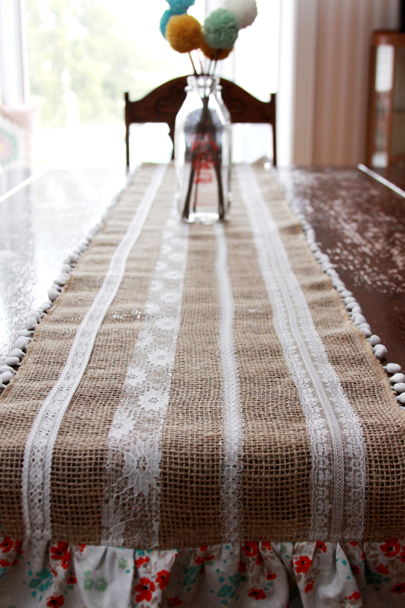 Burlap and Lace Fall Runner