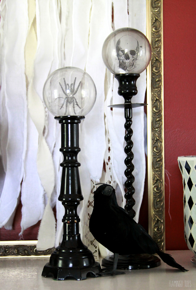 Halloween Crystal Ball Candlestick Decorations