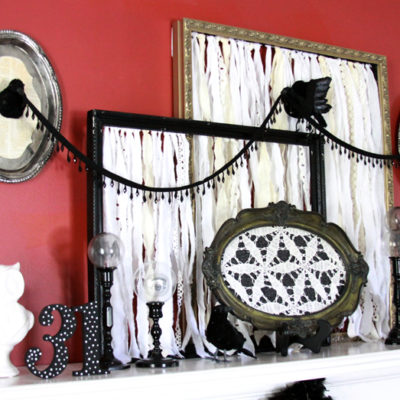 Vintage Black and White Halloween Mantel