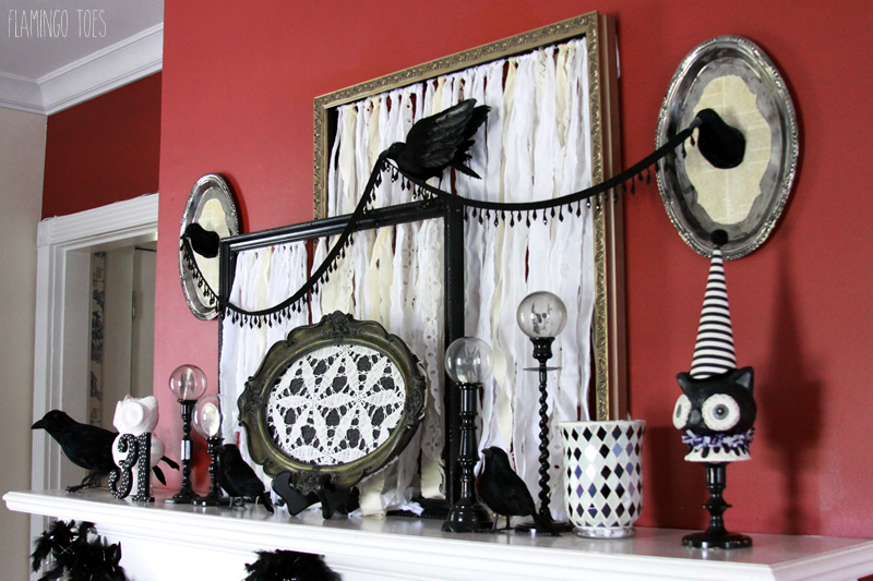 Inexpensive Halloween Mantel