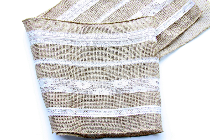 Lace Stripes on Burlap