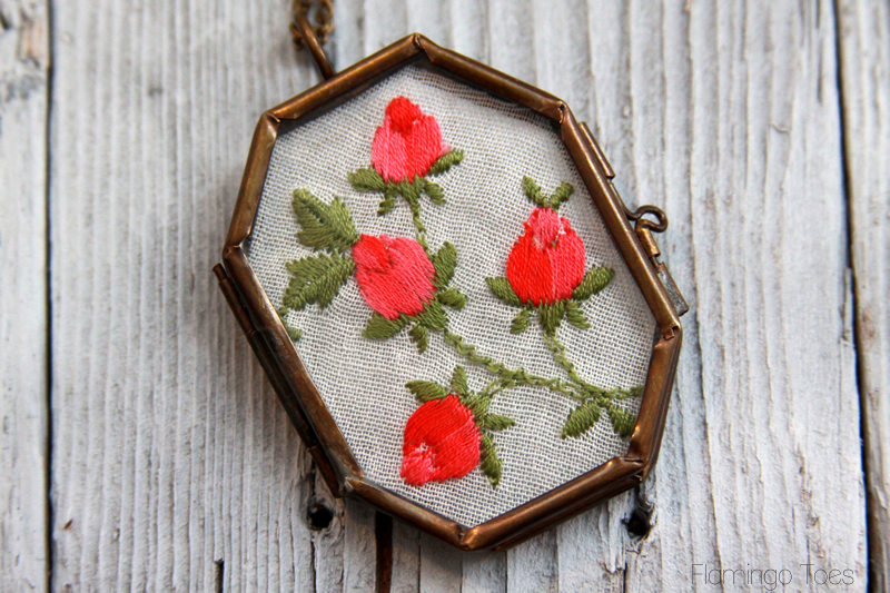 Vintage Embroidered Handkerchief Necklace