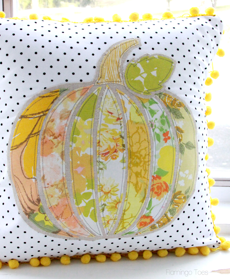 Vintage Fabric Pumpkin Pillow
