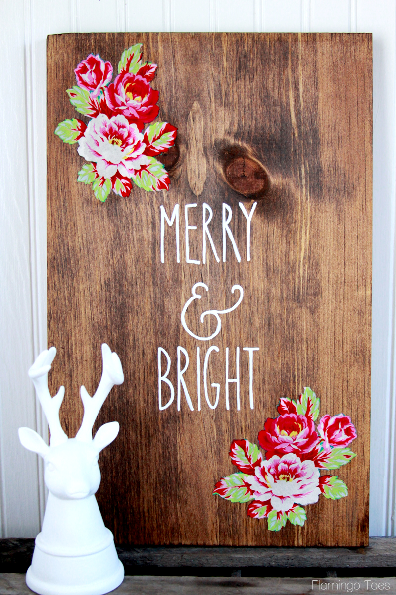 Wooden Floral Christmas Sign