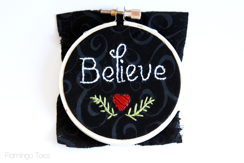 Believe Embroidered Hoop Ornament