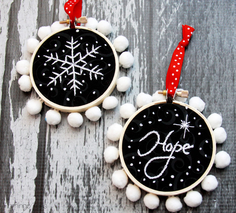 Chalk Embroidery Christmas Ornaments