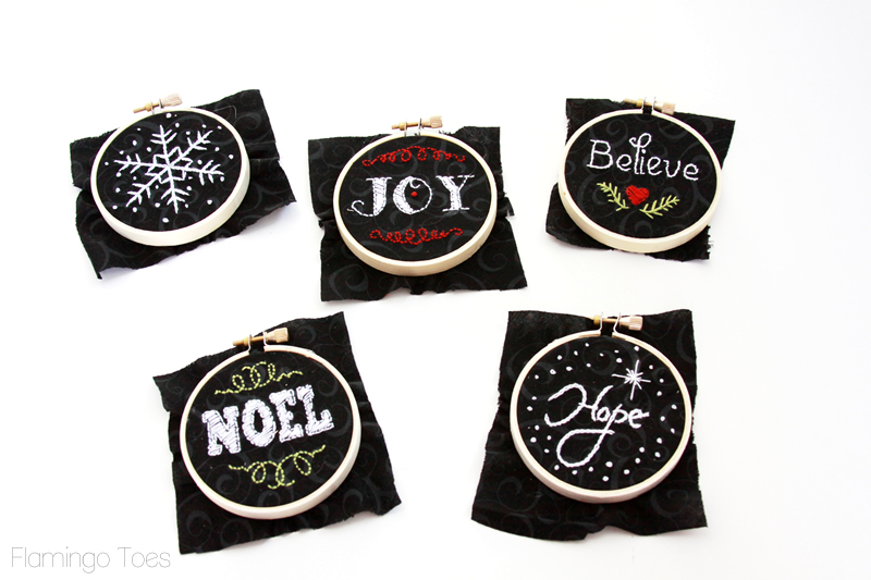 Chalk Embroidery Hoop Ornaments