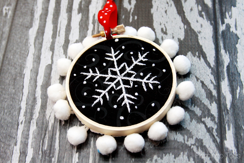 Chalk Embroidery Snowflake Ornament