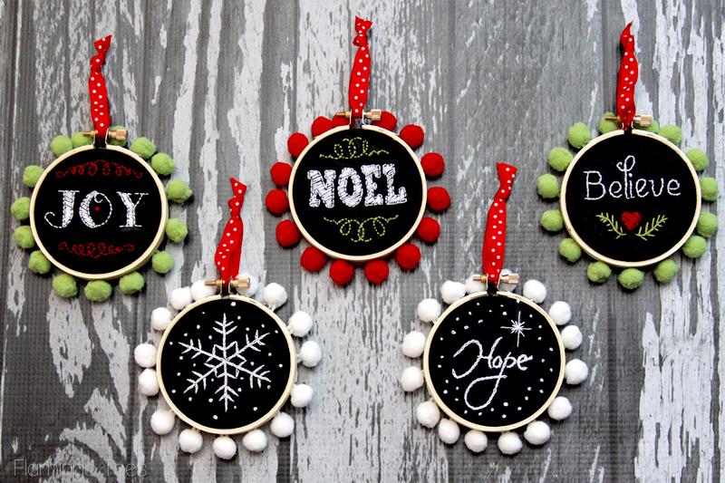 Chalk Hoop Ornaments