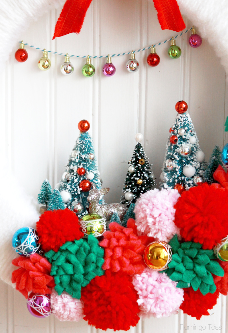 Colorful Vintage Style Christmas Wreath