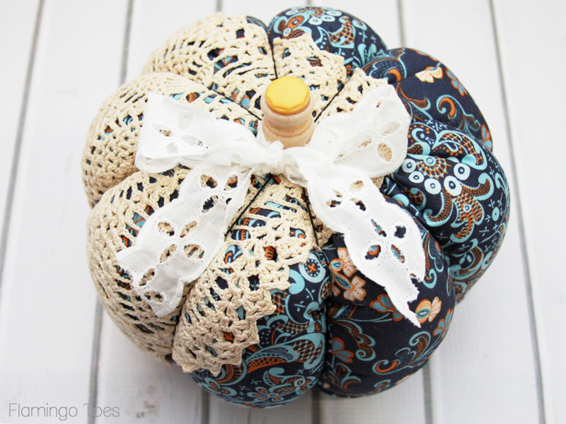 Doily and Fabric Pumpkin