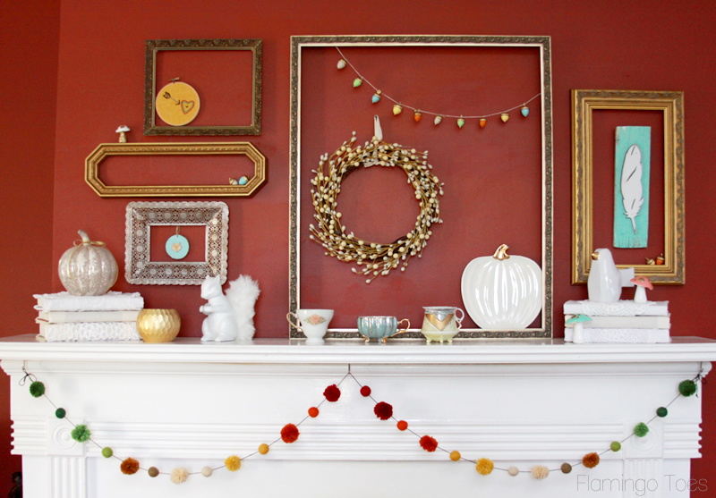 Easy Fall Mantel Display
