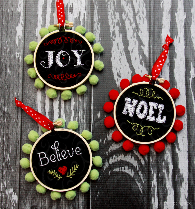 faux chalk christmas ornaments - Embroidered Christmas Ornaments