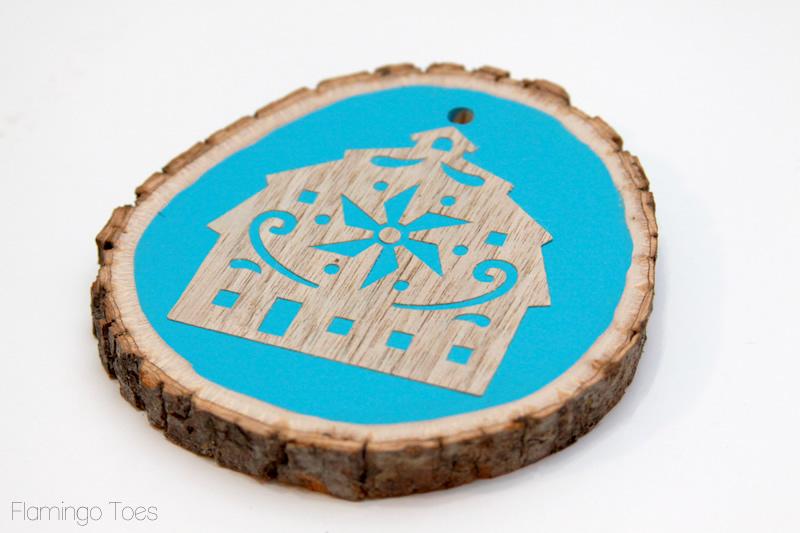 Folk Art Barn Ornament