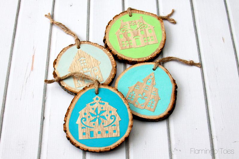 Folk Wood Christmas Ornaments