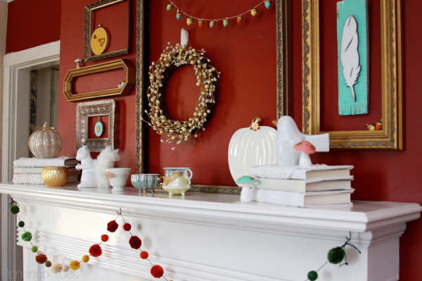 Fun Woodland Fall Mantel