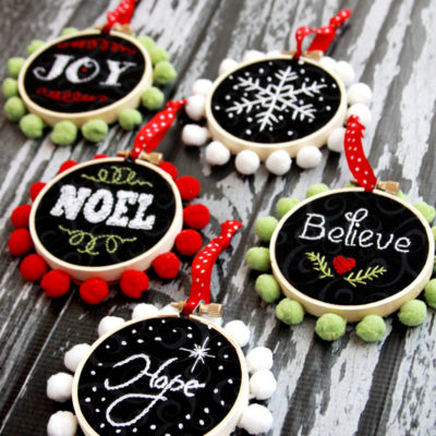 Chalk Embroidery Mini Hoop Ornaments