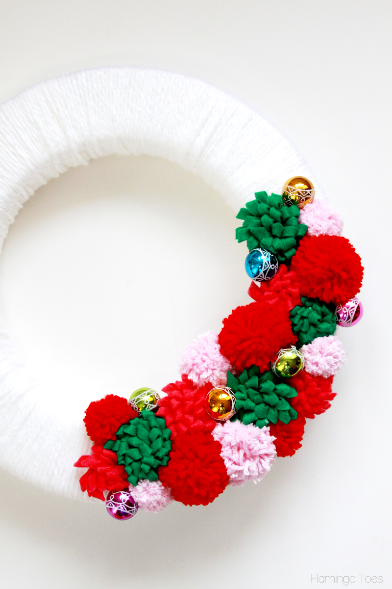 Mini Ornaments and flowers on wreath