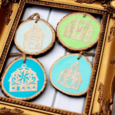 Wood Cut Folk Art Village Ornaments