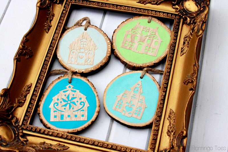 Painted Wood Slice Christmas Ornaments