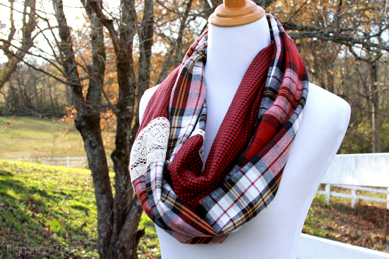 Plaid and Lace Infinity Scarf DIY