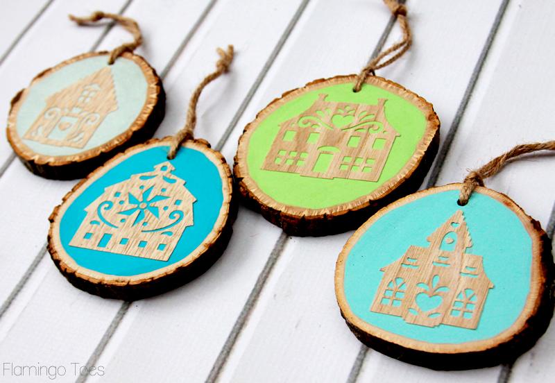 Wood Cut Village Ornaments