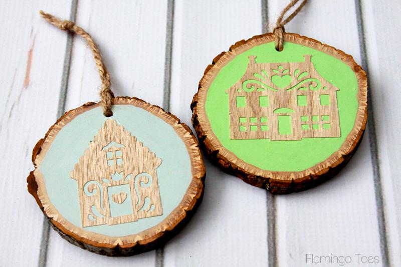 Wooden Village Ornaments