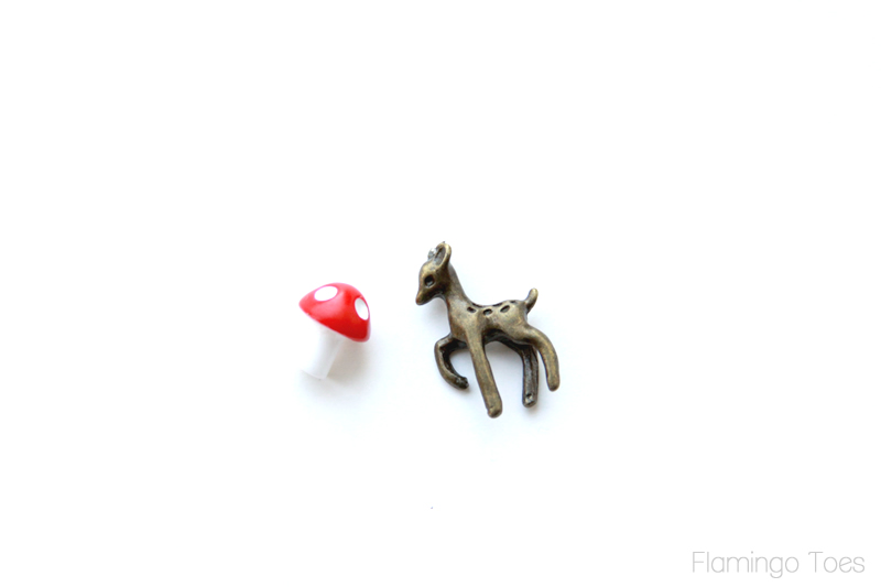 deer and mushroom charms