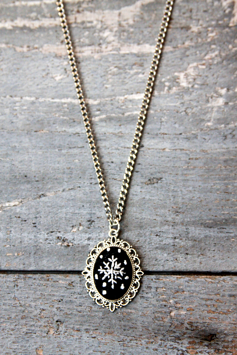 Chalk Embroidery Winter Snowflake Necklace